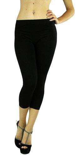 - ToBeInStyle Women's Footless Elastic Legging - Capris Length - 27' Inches - Black