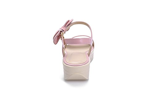 Amoonyfashion Kvinners Åpne Tå Kitten Hæler Mykt Materiale Faste Spenne Sandaler Rosa