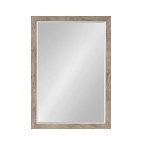 (DesignOvation Beatrice Framed Wall Mirror, 27x39 Rustic Brown )