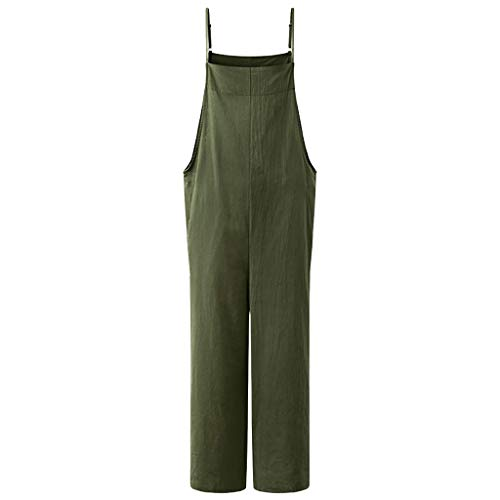 (LUXISDE Overalls for Women Summer Cotton Linen Solid Camisole Loose Plus Size Baggy Casual Wide Leg Vintage Haren Overalls Green)