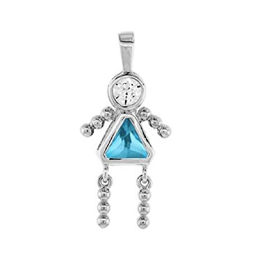 CloseoutWarehouse Simulated Topaz Cubic Zirconia December Birthstone Girl Flat Charm Rhodium Plated Sterling Silver