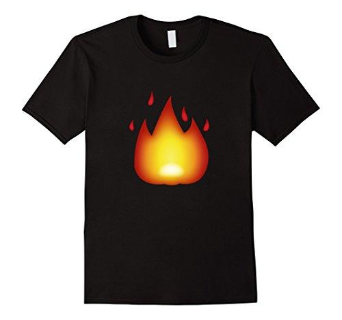Mens Fire Flames T Shirt Medium Black