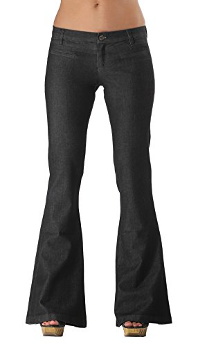 Black Studded Flare Jeans | Designer Bell Bottom Jeans Low Rise ()