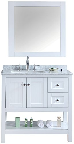 Ari Kitchen and Bath Emily Single Bathroom Vanity Set with Mirror Akb-Emily-36-WH, 36'', White by Ari Kitchen and Bath
