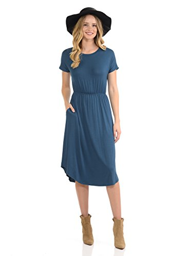 iconic luxe Women's Solid Short Sleeve Flare Midi Dress with Pockets X-Large Denim
