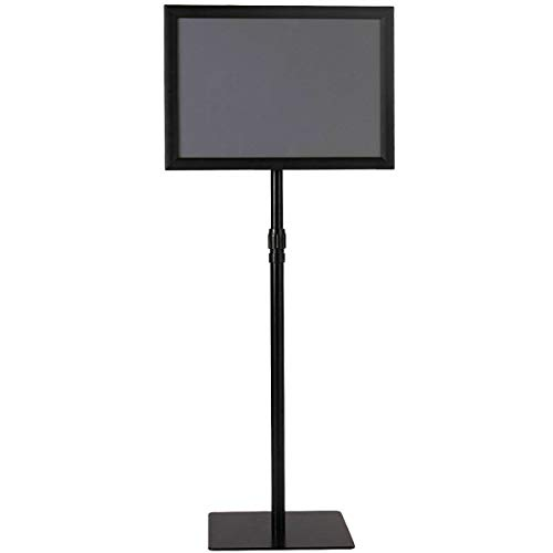 "11""x17"" Adjustable Aluminum Sign Holder Snap Open Frame Pedestal Poster Stand Display w/Square Base - Black with Ebook from NanaPluz"