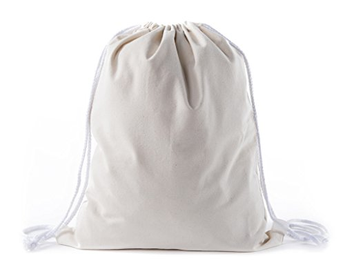 Multi-Purpose 100 % Cotton Canvas Drawstring Backpacks-Wholesale Heavy Duty Cotton Cinch Sacks -By Mato & Hash - 50PK Natural CA2725 by Mato & Hash
