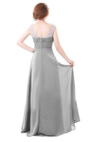 Perlen Scoop Chiffon Silber Kleider Damen Neck Abendkleid Kmformals naR4txw