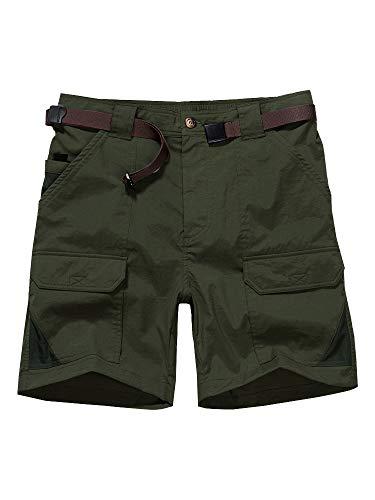Men's Casual Shorts, Expandable Waist Lightweight Cargo Hiking Summer Shorts #6018-Army Green,40