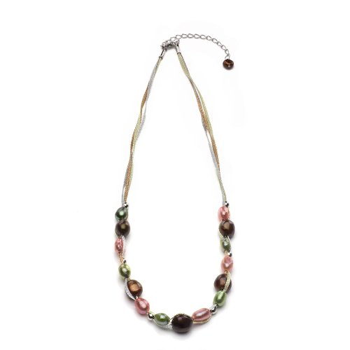 (Sterling Silver 6-6.5mm, 9-9.5mm Dyed Multicolors Baroque Freshwater Cultured Pearl Necklace, 16