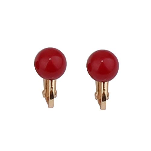 (Nice Honey Briadl Wedding Clip Earrings No Pierced Silver/Gold Plated Charm Jewelry Pearl earrings (8mm screw gold red))