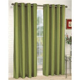 2 Piece Solid Sage Green Faux Silk Grommet Curtain Panel 58 By 84 Inch