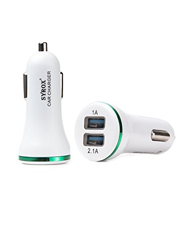Price comparison product image #1 for LG G6 LG H870 Dual Port Car Charger, Original Syrox Mobile 2-USB Fast Quick Charge Quality Android iOS Type C 3.1A Fastest Green Adapter - 2 Years Warranty