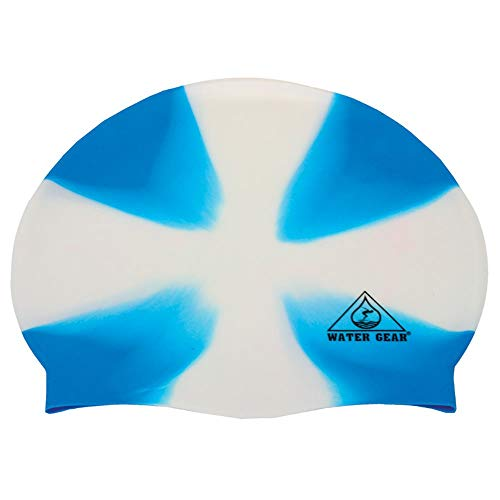 (Water Gear Jazz Silicone Swim Cap Criss Cross White/Blue)