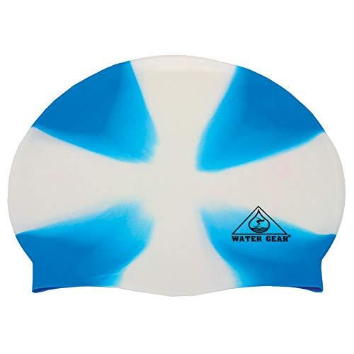 Water Gear Jazz Silicone Swim Cap Criss Cross White/Blue ()