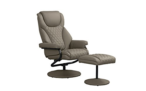Office Swivel Chair with Footstool, Faux Leather Reclining Executive and Gaming Chairs (Brown) (Footrest Wood)