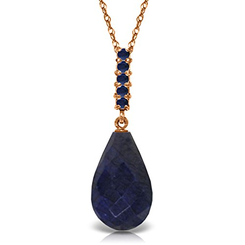- ALARRI 9 Carat 14K Solid Rose Gold Necklace Briolette Drop Sapphire with 18 Inch Chain Length