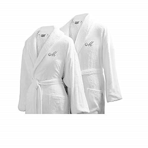 Luxor Linens Couple's Terry Cloth Bathrobe Egyptian Cotton Unisex/One Size Luxurious Soft Plush Elegant San Marco (Two Robes, Custom Monogram) (Monogram Bathrobes)