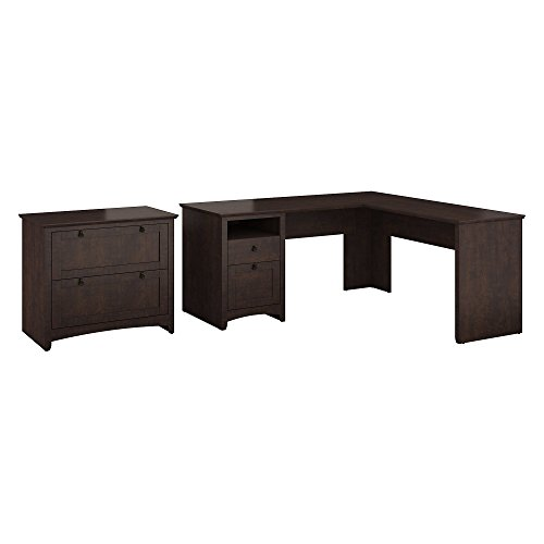 Bush Furniture Buena Vista L Shaped Desk with Lateral File Cabinet