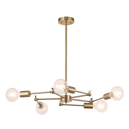 Cheap VINLUZ 5-Lights Sputnik Chandelier Brushed Brass Pendant Lighting Rustic Ceiling Light Fixture Hanging Industrial Modern Chandeliers for Dining Rooms
