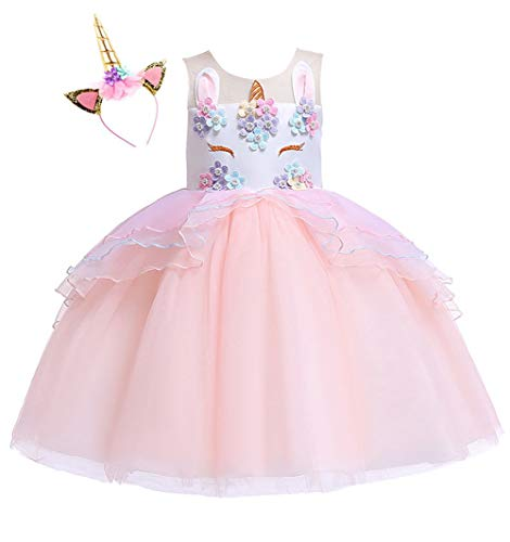 Kokowaii Fancy Girls Unicorn Pageant Party Dress Tutu Costume