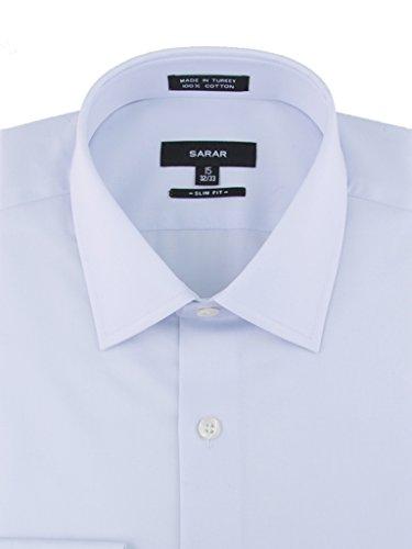 SARAR Men's 3 Pack Slim Fit Dress Shirt Point Collar Pocket Free Cotton Solid Barrel Cuff Blue Business Men by SARAR (Image #2)'