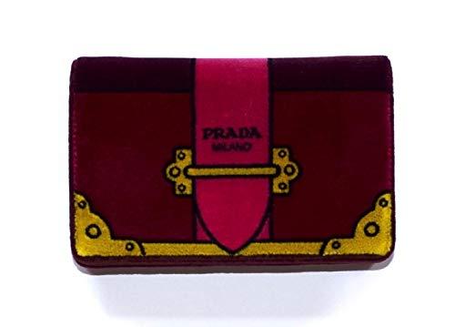 (Prada Velvet Cahier Mini Bag Clutch Bag Red Amarena Chain Handbag 1BP011)
