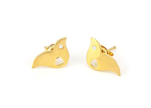 9k/14k Gold and Diamonds Stud Earring, Women Small Bird Earrings, Birthstones Studs, Bridal Valentine Gift ()