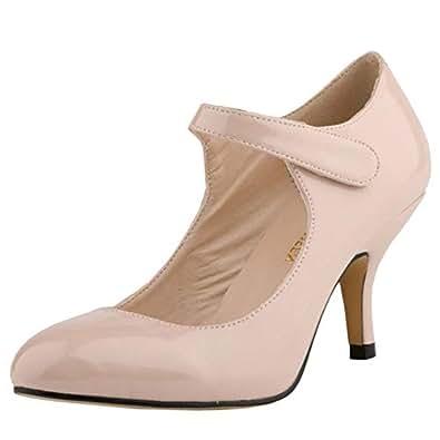 Melady Women Classic Mary Janes Kitten Heels Ankle Strap Office Pumps Formal Dress Shoes QipiApricot Size 35