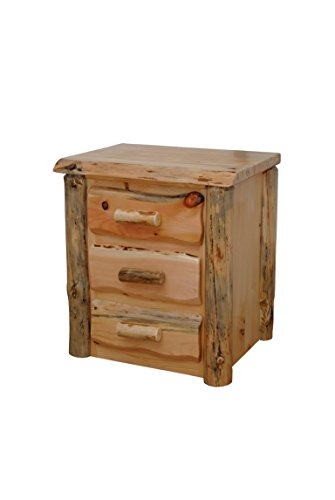 Rustic Pine Natural Live Edge Slab Nightstand/End Table - 3 Drawers - Amish Made in USA (Michael's Cherry Stain) ()