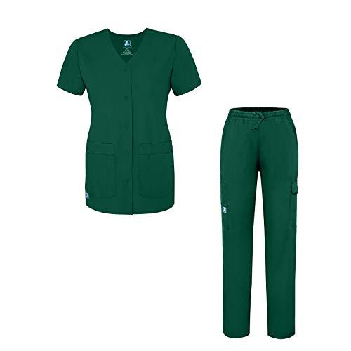 Adar Universal Women's Scrub Set - Snap Front Scrub Top and Multi Pocket Scrub Pants - 906 - HGR - XS Hunter Green
