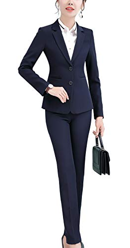 Women Two Pieces Blazers Work Office Lady Suit Business Blazer Jacket&Pant (Navy-6803, XS)