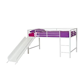 DHP Junior Twin Metal Loft Bed with Slide, Multifunctional Design, White with White Slide