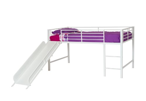 DHP Junior Twin Metal Loft Bed with Slide, Multifunctional Design, White with White Slide (Girls For Beds Kid)