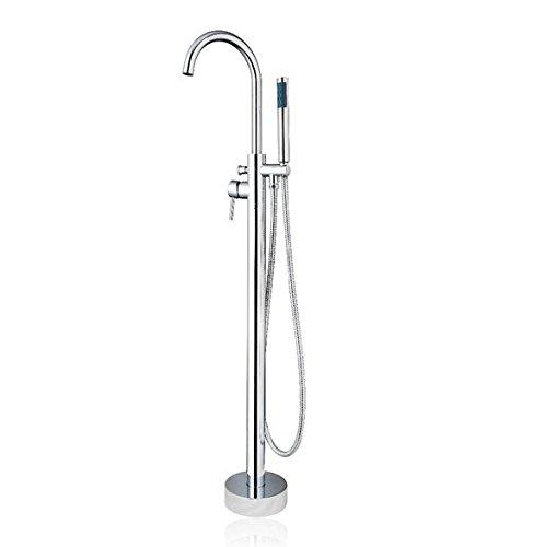 GOWE Bathtub Faucet Torneira Floor Mounted Chrome Soild Brass Shower Handheld Bathroom Basin Sink Faucet,Mixer Tap 0