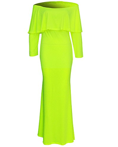 Cocktail Moulante Robe lastique De Jaune Slim Soire Long Dcoup Femme Longue Fit paule Crayon Solide Manche Nue 5Zd54Hq