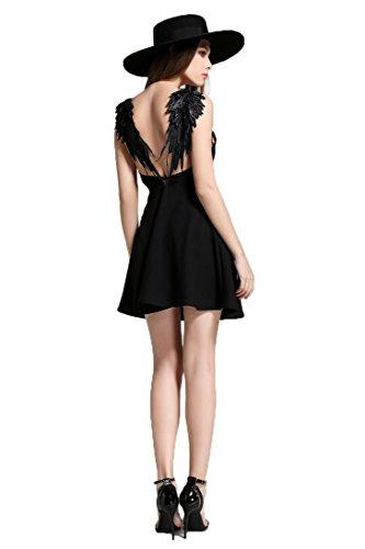 (アクアハウス) AQUA HOUSE ミニワンピースチュニック 衣装 レース 羽付き フリル 翼の刺繍 パーティー用ドレス 膝丈 春夏用セクシードレス