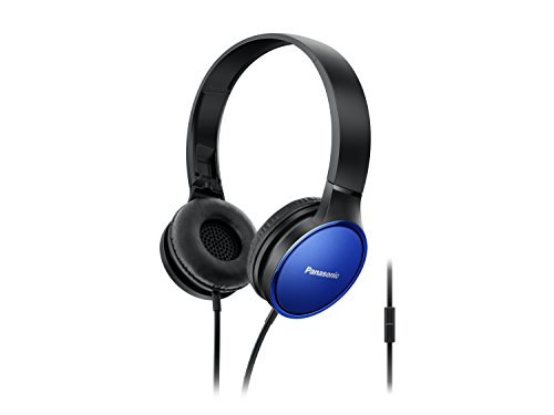 Panasonic Premium Sound On Ear Stereo Headphones RP-HF300M-A with Integrated Mic and Controller, Travel-Fold Design, Metallic Finish, (Panasonic Portable Headset)