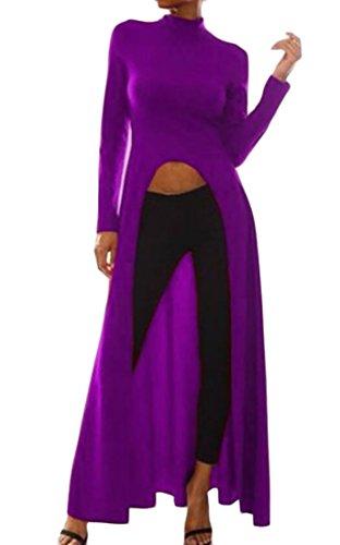 Les Femmes Domple Col Casual Manches Longues Haute Fendu Longue Robe Violette