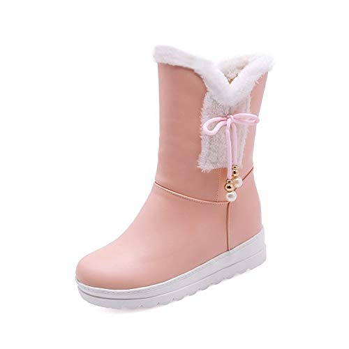 IWxez Bottes de Neige pour Femmes Bottes d'hiver en et PU (polyuréthane) à Plateforme et en Bout Rond Bottes mi-Mollet Blanc/Noir / Rose/Soirée & Soirée 41 EU|Pink c6cff4