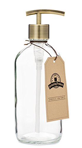 Clear Glass Jar Soap and Lotion Dispenser with Modern Brass Pump - 16 oz - by Jarmazing Products by Jarmazing Products