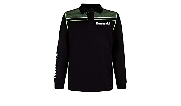 Kawasaki Deportivo Hombre Polo de Manga Larga Negro - 2XL: Amazon ...