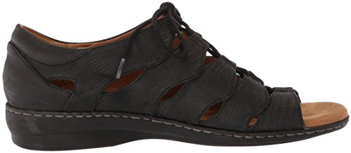 NATURAL SOUL Women's Beatrice Fisherman Sandal Black Lizard store for sale n7nsdpM