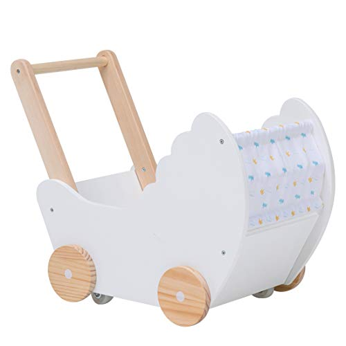(Baby Activity Walker Babydoll Stroller with Wheel, 2-in-1 Nature Wood Baby Push Pull Walker Wagon Toy for Girls, Sturdy Construction, Fabric Cover (White))