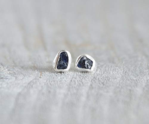 0c5afd0d5 Raw Sapphire Stud Earrings In Midnight Blue, Sapphire Wedding Gift,  September Birthstone: Amazon.co.uk: Handmade