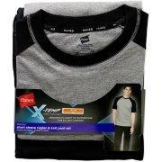 Hanes Men's Short Sleeve Raglan and Knit Pant Set with X-Temp, Black, XX-Large