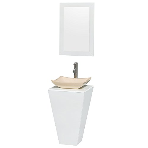 Pedestal Vanity Marble Stone (Wyndham Collection Esprit 20 inch Pedestal Bathroom Vanity in Glossy White, White Man-Made Stone Countertop, Avalon Ivory Marble Sink, and 20 inch Mirror)