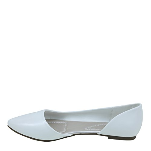 Nouveau Brieten Womens Pointu Orteil Cut-out Simple Style Confort Chaussures Plates Blanc