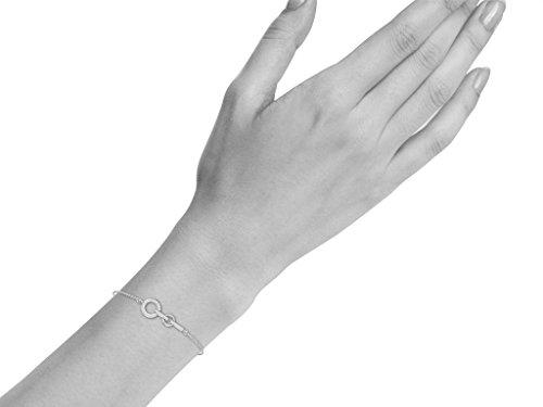 Or Blanc 9 ct Bracelet Diamant en forme de rond, 0.11 Ct Diamant, GH-SI, 0.88 grammes.