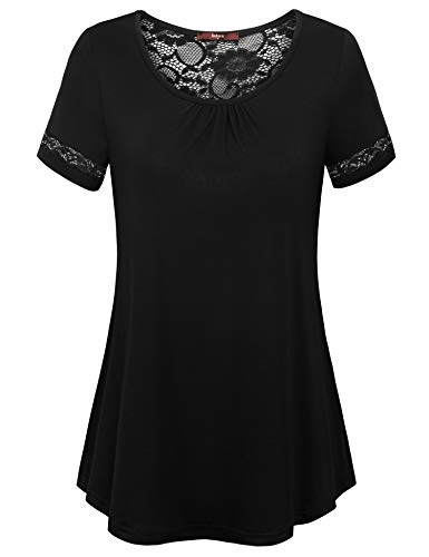 Gaharu Floral Lace Shirt Summer Casual Tunic Tops for Leggings Short Sleeve Pleat Crew Neck Fitted Flowy Professional Blouses for Work Black,XL